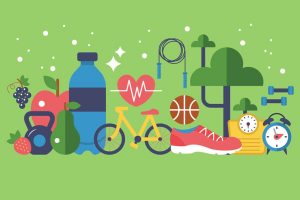 A clipart image showing the importance of physical activity and health for a balanced lifestyle.